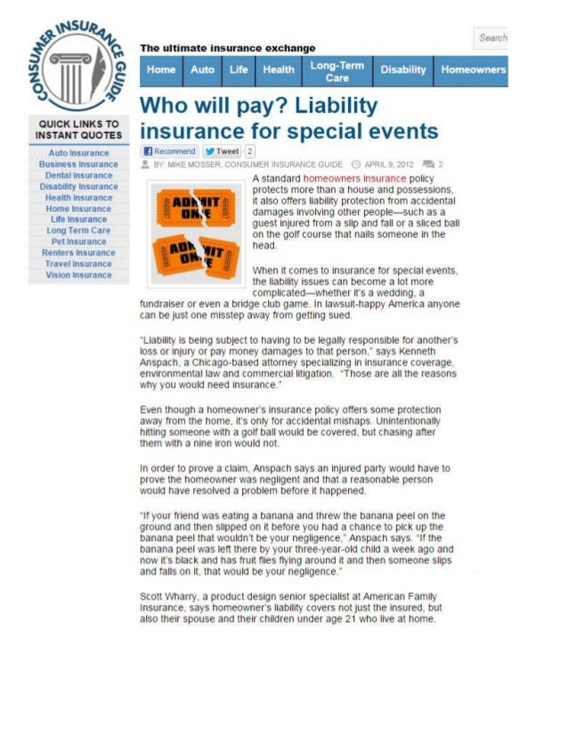 liability insurance for special events