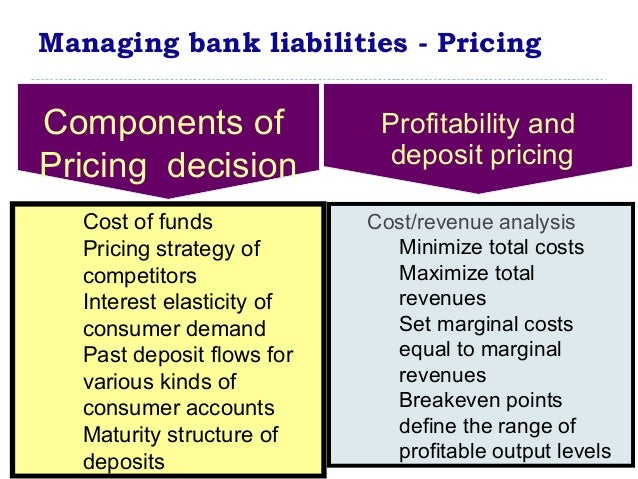 managing and pricing non deposit liabilities Actively purchase deposits (liability mgmt) integrated asset/liability management substitution of non-price for price competition 4.