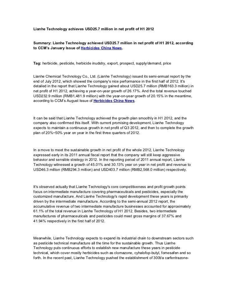 Lianhe Technology achieves USD25.7 million in net profit of H1 2012Summary: Lianhe Technology achieved USD25.7 million in ...