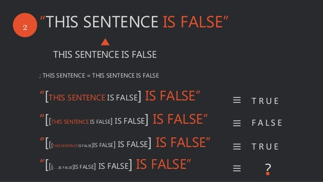 "2 ""THIS SENTENCE IS FALSE"" THIS SENTENCE IS FALSE ; THIS SENTENCE = THIS SENTENCE IS FALSE ""[THIS SENTENCE IS FALSE] IS FA..."