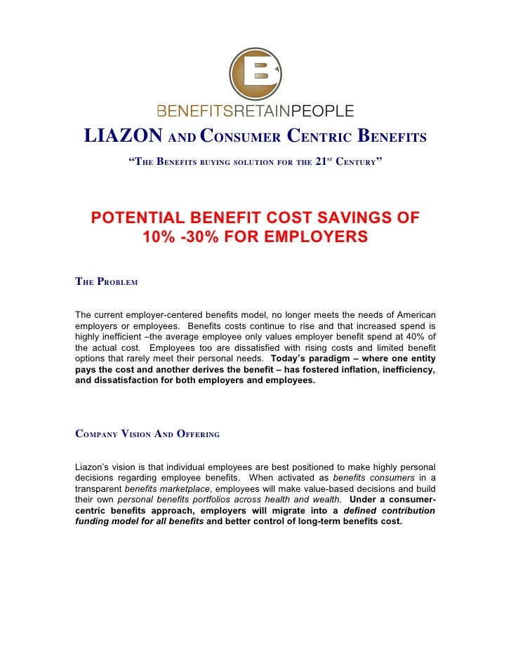 "LIAZON AND CONSUMER CENTRIC BENEFITS              ""THE BENEFITS BUYING SOLUTION FOR THE 21 CENTURY""                       ..."