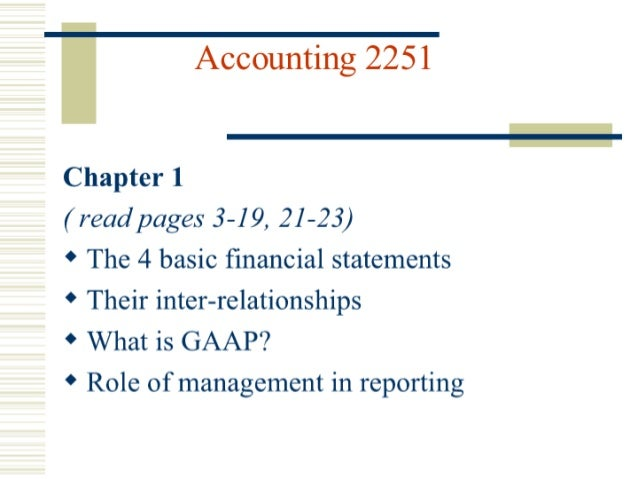 "Accounting 2251  'Chapter 1  ( read pages 3-19, 21-23)  ""V The 4 basic financial statements 'V Their inter-relationships  '..."