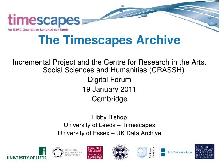 The Timescapes Archive<br />Incremental Project and the Centre for Research in the Arts, Social Sciences and Humanities (C...