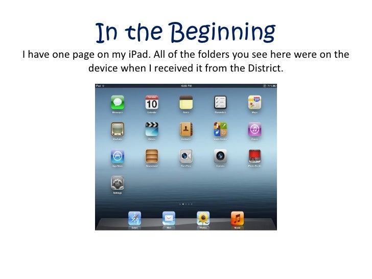 In the BeginningI have one page on my iPad. All of the folders you see here were on the              device when I receive...
