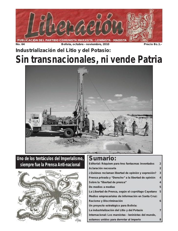 PUBLICACIÓN DEL PARTIDO COMUNISTA MARXISTA - LENINISTA - MAOISTANo. 64                    Bolivia, octubre - noviembre, 20...