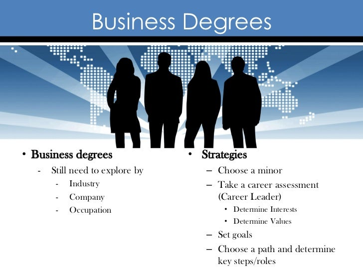 Business Degrees• Business degrees                • Strategies   -   Still need to explore by      – Choose a minor       ...