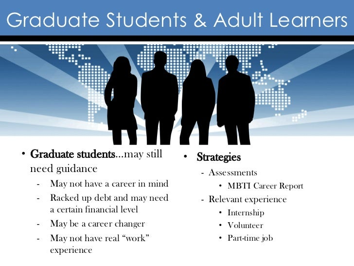 Graduate Students & Adult Learners • Graduate students…may still          • Strategies   need guidance                    ...