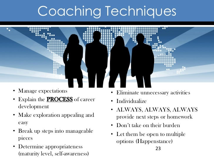 Coaching Techniques• Manage expectations                • Eliminate unnecessary activities• Explain the PROCESS of career ...