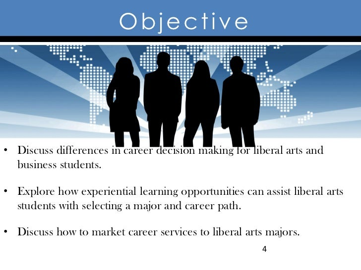 Objective• Discuss differences in career decision making for liberal arts and  business students.• Explore how experientia...