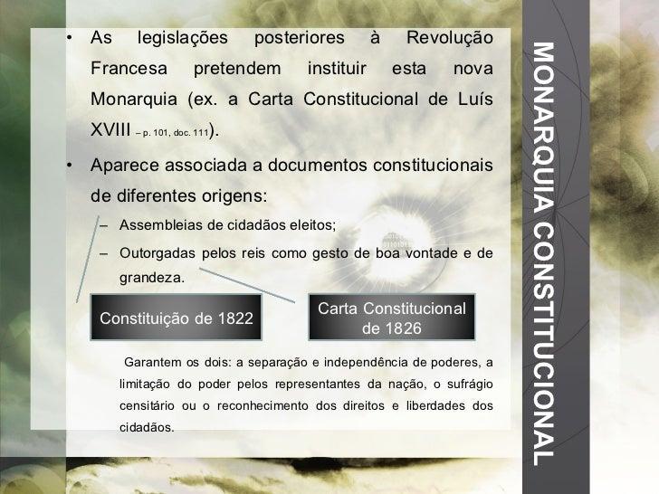 MONARQUIA CONSTITUCIONAL <ul><li>As legislações posteriores à Revolução Francesa pretendem instituir esta nova Monarquia (...