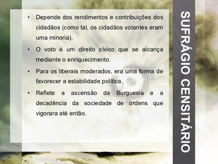 SUFRÁGIO CENSITÁRIO <ul><li>Depende dos rendimentos e contribuições dos cidadãos (como tal, os cidadãos votantes eram uma ...