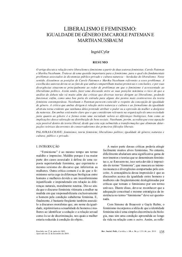 135REVISTA DE SOCIOLOGIA E POLÍTICA V. 18, Nº 36: 135-146 JUN. 2010RESUMOLIBERALISMO E FEMINISMO:IGUALDADE DE GÊNERO EM CA...