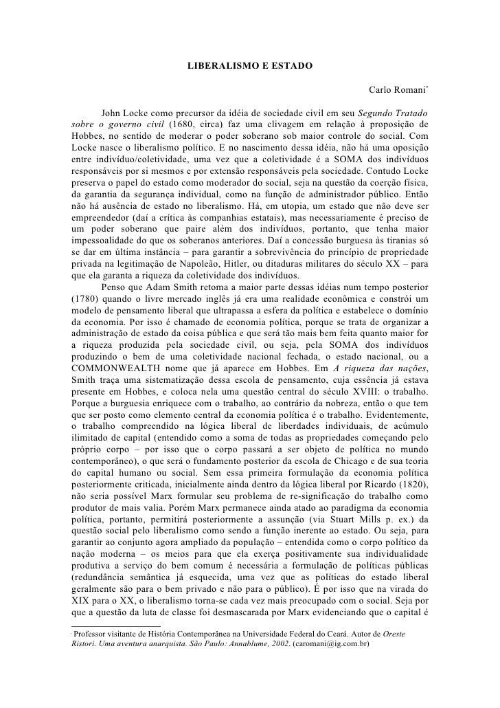 LIBERALISMO E ESTADO                                                                                      Carlo Romani∗   ...