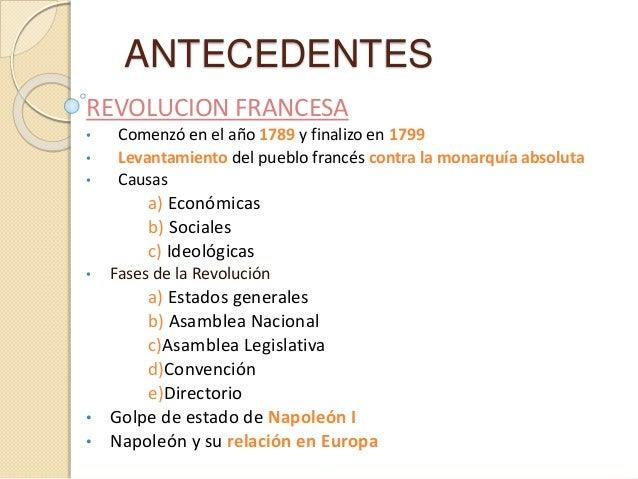 ANTECEDENTES REVOLUCION FRANCESA • Comenzó en el año 1789 y finalizo en 1799 • Levantamiento del pueblo francés contra la ...