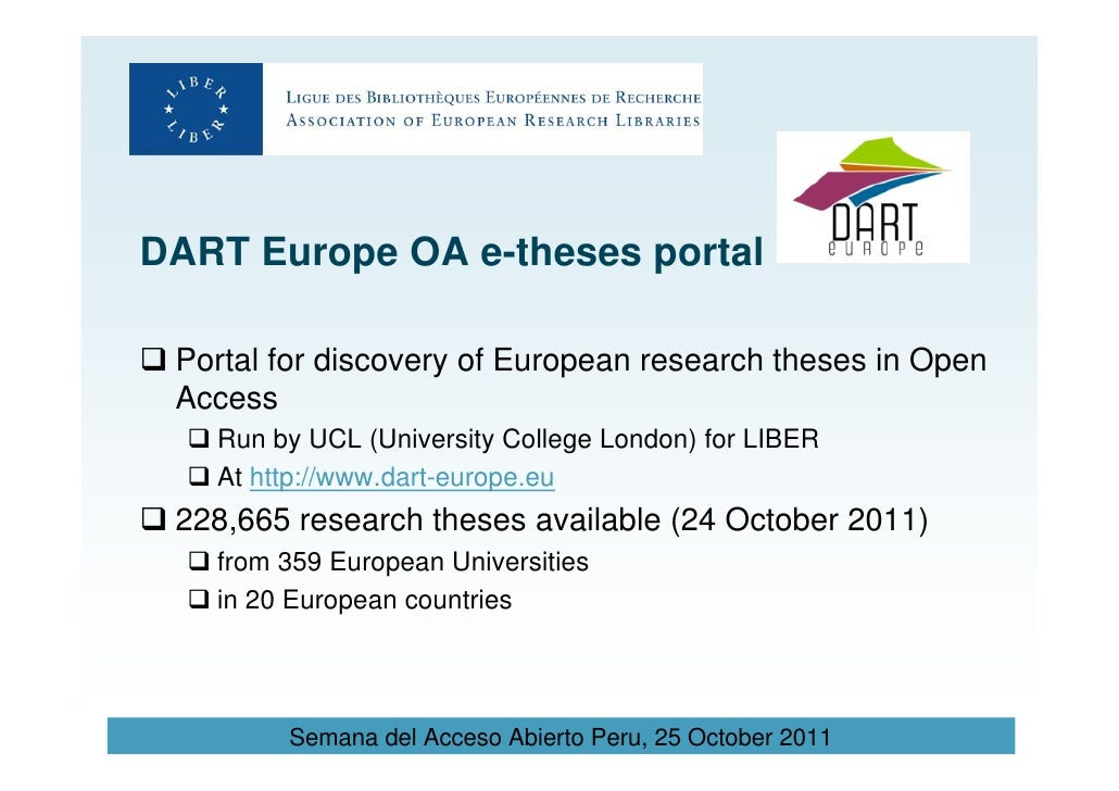 european theses portal Description the dart-europe e-theses portal is a searchable database of  electronic research theses held in european repositories the theses listed are  open.