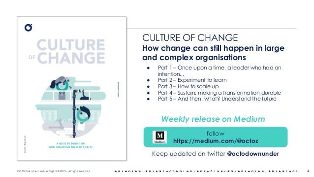 OCTO Part of Accenture Digital © 2019 - All rights reserved 4 CULTURE OF CHANGE How change can still happen in large and c...
