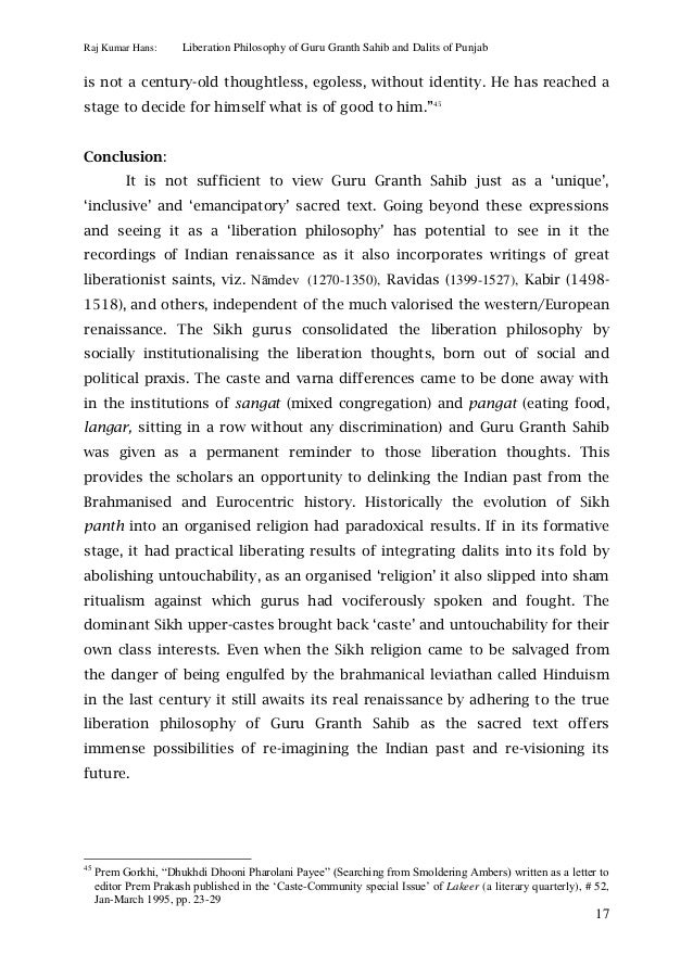 Liberation philosophy of guru granth sahib and dalits of punjab