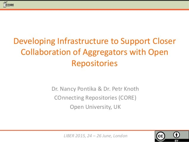 Developing Infrastructure to Support Closer Collaboration of Aggregators with Open Repositories Dr. Nancy Pontika & Dr. Pe...