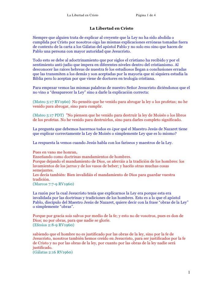 La Libertad en Cristo                   Página 1 de 4                                     La Libertad en Cristo  Siempre q...