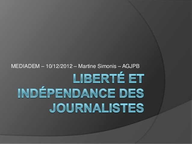 MEDIADEM – 10/12/2012 – Martine Simonis – AGJPB