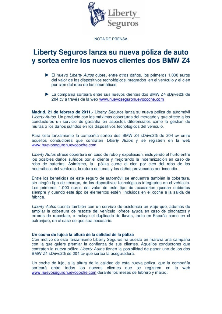 Liberty Seguros Lanza Su Nueva P 243 Liza De Auto Y Sortea