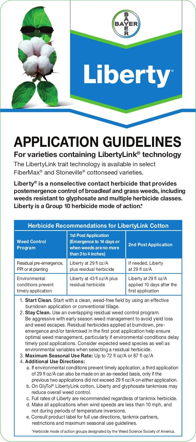 APPLICATION GUIDELINES Liberty® is a nonselective contact herbicide that provides postemergence control of broadleaf and g...