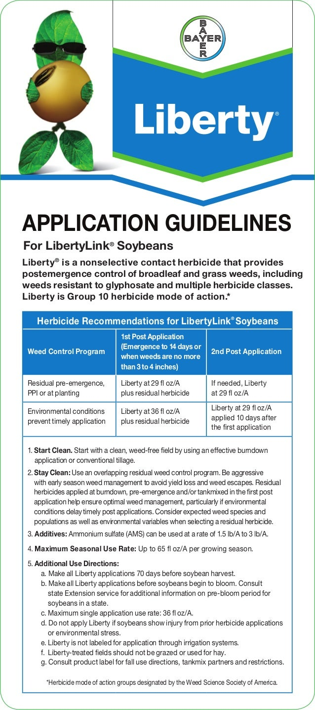 Herbicide Recommendations for LibertyLink® Soybeans Weed Control Program 1st Post Application (Emergence to 14 days or whe...