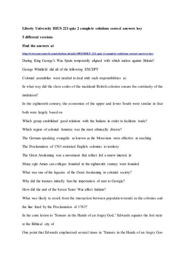 Liberty University Hius 221 Quiz 2 Complete Solutions