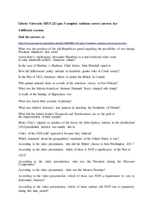 Liberty University Hius 221 Quiz 5 Complete Solutions