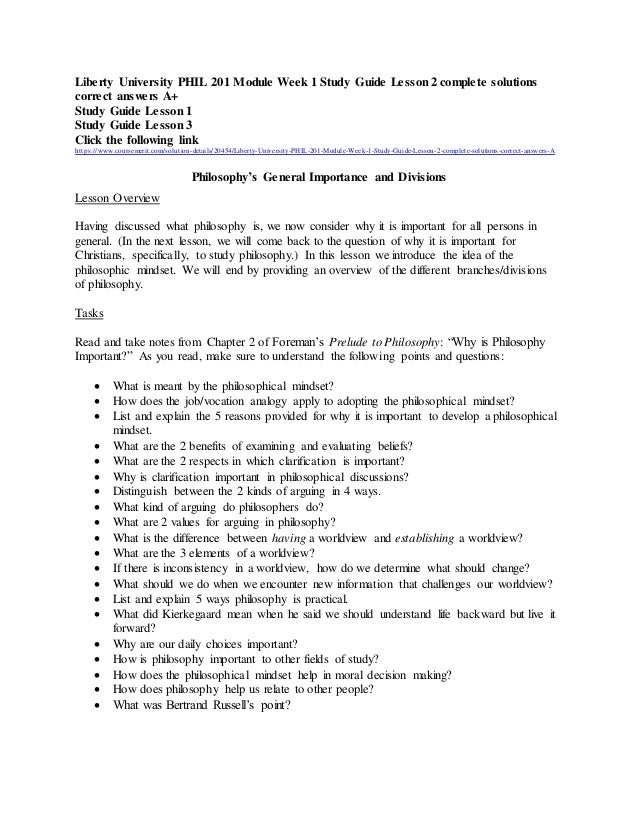 Liberty University Phil 201 Study Guide Lesson 2 Complete Solutions C U2026