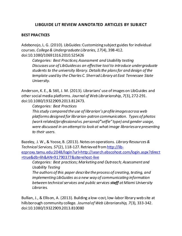 annotated bibliography libguide