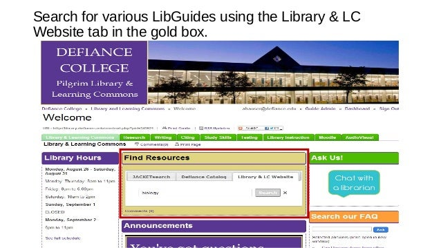 Search for various LibGuides using the Library & LC Website tab in the gold box.