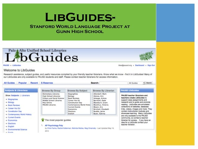 LibGuides- Stanford World Language Project at Gunn High School