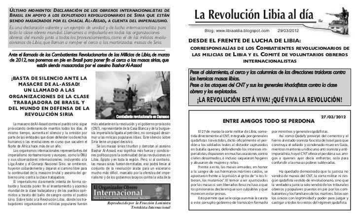 Último momento: Declaración De los obreros internacionalistas Debrasil en apoyo a los explotaDos revolucionarios De siria ...