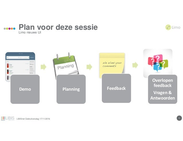 11 Plan voor deze sessie Demo Planning Feedback Overlopen feedback Vragen & Antwoorden Limo nieuwe UI LIBISnet Gebruikersd...