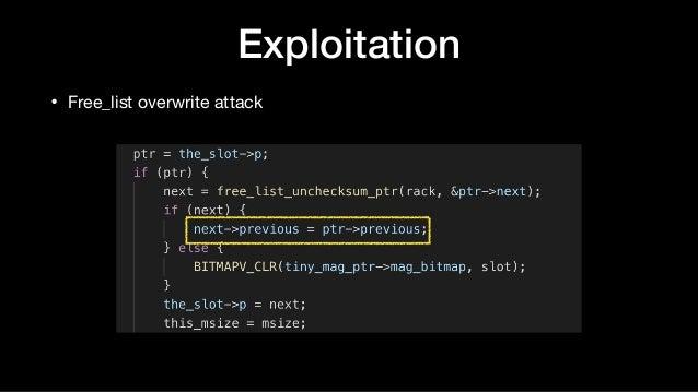 Exploitation • Free_list overwrite attack