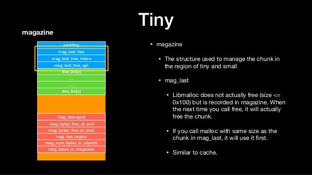 Tiny • magazine  • The structure used to manage the chunk in the region of tiny and small  • mag_last  • Libmalloc does no...