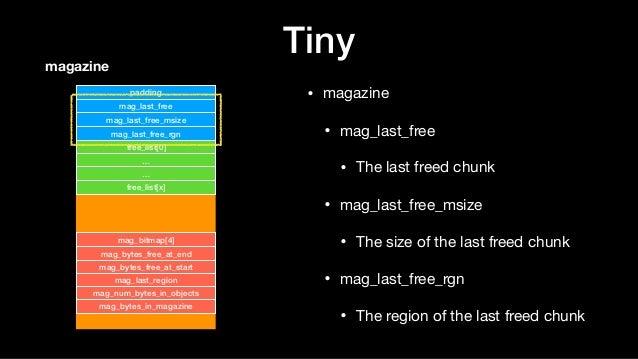 Tiny • magazine  • mag_last_free  • The last freed chunk  • mag_last_free_msize  • The size of the last freed chunk  • mag...