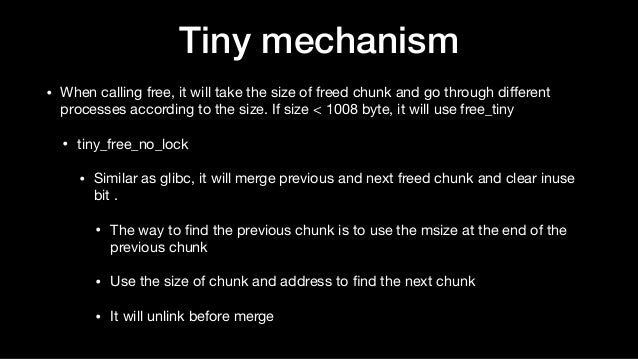 • When calling free, it will take the size of freed chunk and go through different processes according to the size. If size...
