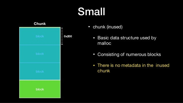Small • chunk (inused)  • Basic data structure used by malloc  • Consisting of numerous blocks  • There is no metadata in ...