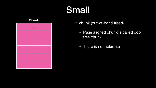 block block block Small • chunk (out-of-band freed)  • Page aligned chunk is called oob free chunk  • There is no metadata...