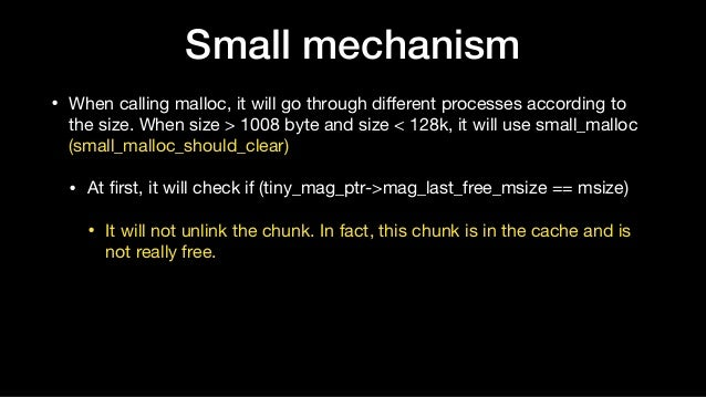 • When calling malloc, it will go through different processes according to the size. When size > 1008 byte and size < 128k,...