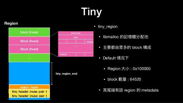 Tiny • tiny_region  • libmalloc 的記憶體分配池  • 主要都由眾多的 block 構成  • Default 情況下  • Region ⼤大⼩小 : 0x100000  • block 數量量 : 64520 ...