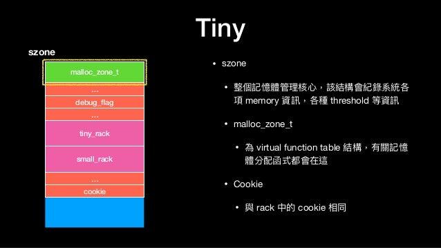Tiny • szone  • 整個記憶體管理理核⼼心,該結構會紀錄系統各 項 memory 資訊,各種 threshold 等資訊  • malloc_zone_t   • 為 virtual function table 結構,有關記憶 體...