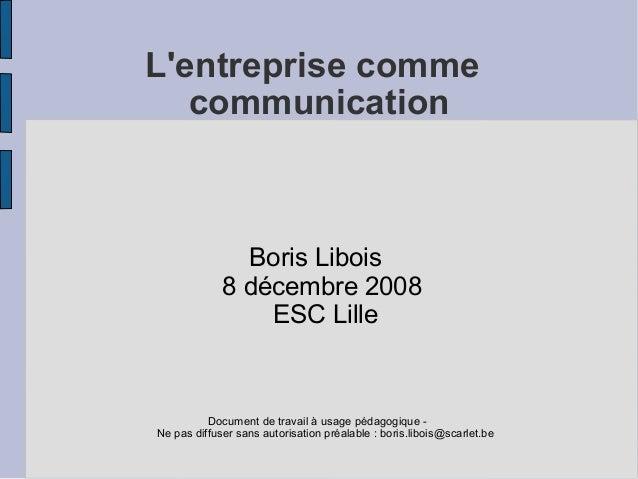 L'entreprise comme communication