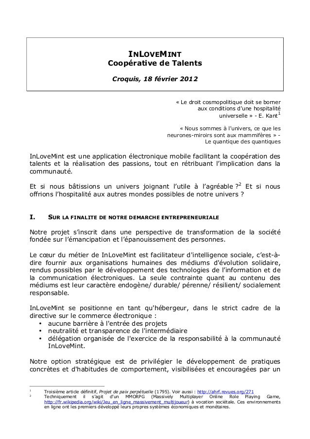 INLOVEMINT  Coopérative de Talents  Croquis, 18 février 2012  « Le droit cosmopolitique doit se borner  aux conditions d'u...