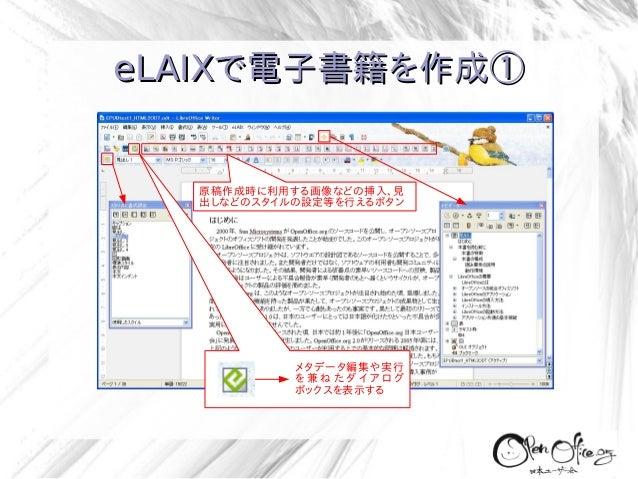 eLAIXで電子書籍を作成①  原稿作成時に利用する画像などの挿入、見 出しなどのスタイルの設定等を行えるボタン  メタデータ編集や実行 を兼ねたダイアログ ボックスを表示する