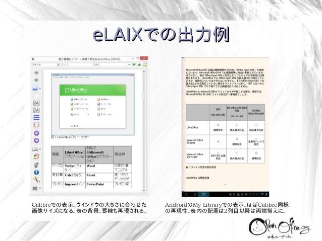 eLAIXでの出力例  Calibreでの表示。ウインドウの大きさに合わせた 画像サイズになる。表の背景、罫線も再現される。  AndroidのMy Libraryでの表示。ほぼCalibre同様 の再現性。表内の配置は2列目以降は両端揃えに。