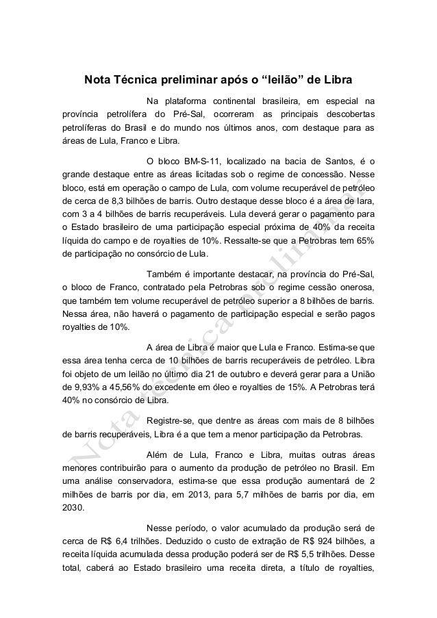 """Nota Técnica preliminar após o """"leilão"""" de Libra Na plataforma continental brasileira, em especial na província petrolífer..."""