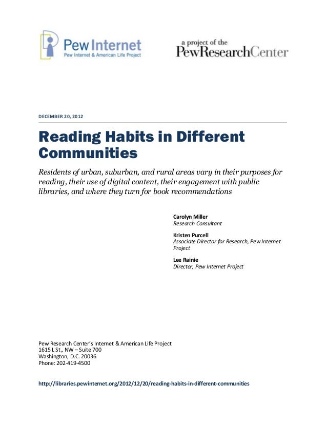 DECEMBER 20, 2012Reading Habits in DifferentCommunitiesResidents of urban, suburban, and rural areas vary in their purpose...